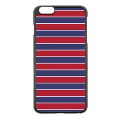 Large Red White And Blue Usa Memorial Day Holiday Pinstripe Apple Iphone 6 Plus/6s Plus Black Enamel Case by PodArtist