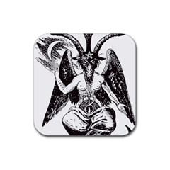 Devil Baphomet Occultism Rubber Square Coaster (4 Pack)