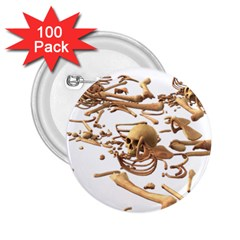 Skull Bone Skeleton Bones 2 25  Buttons (100 Pack)