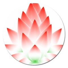 Lotus Flower Blossom Abstract Magnet 5  (round) by Sapixe