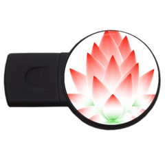 Lotus Flower Blossom Abstract Usb Flash Drive Round (2 Gb)