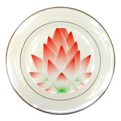 Lotus Flower Blossom Abstract Porcelain Plates by Sapixe