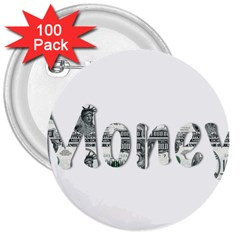 Word Money Million Dollar 3  Buttons (100 Pack)