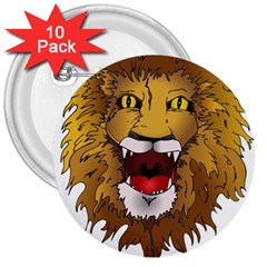 Lion Animal Roar Lion S Mane Comic 3  Buttons (10 Pack)  by Sapixe
