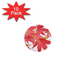 Leaves Maple Branch Autumn Fall 1  Mini Buttons (10 Pack)