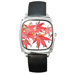 Leaves Maple Branch Autumn Fall Square Metal Watch by Sapixe