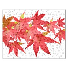 Leaves Maple Branch Autumn Fall Rectangular Jigsaw Puzzl by Sapixe