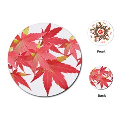 Leaves Maple Branch Autumn Fall Playing Cards (round)  by Sapixe