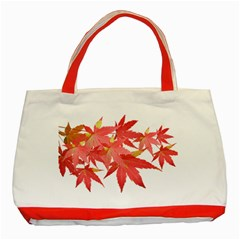Leaves Maple Branch Autumn Fall Classic Tote Bag (red) by Sapixe