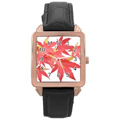 Leaves Maple Branch Autumn Fall Rose Gold Leather Watch  by Sapixe