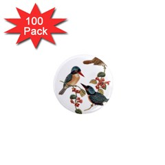 Bird Birds Branch Flowers Vintage 1  Mini Magnets (100 Pack)