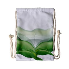 Pearl Drop Flower Plant Drawstring Bag (small) by Sapixe