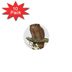Bird Owl Animal Vintage Isolated 1  Mini Buttons (10 Pack)
