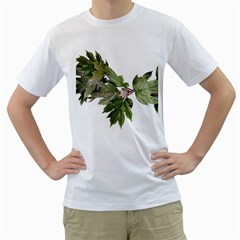 Leaves Plant Branch Nature Foliage Men s T Shirt (white) (two Sided) by Sapixe