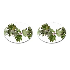 Leaves Plant Branch Nature Foliage Cufflinks (oval) by Sapixe