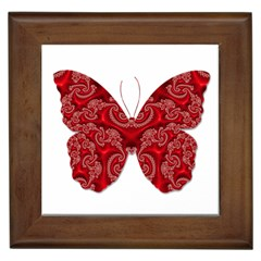 Butterfly Red Fractal Art Nature Framed Tiles by Sapixe