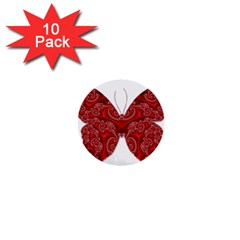 Butterfly Red Fractal Art Nature 1  Mini Buttons (10 Pack)