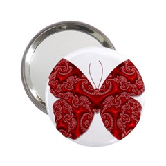Butterfly Red Fractal Art Nature 2 25  Handbag Mirrors by Sapixe