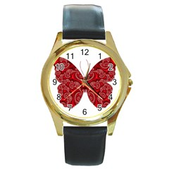 Butterfly Red Fractal Art Nature Round Gold Metal Watch by Sapixe