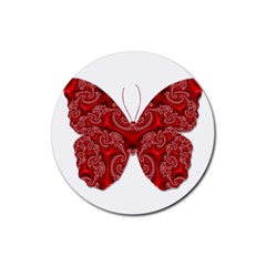 Butterfly Red Fractal Art Nature Rubber Round Coaster (4 Pack)