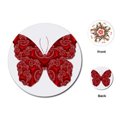 Butterfly Red Fractal Art Nature Playing Cards (round)  by Sapixe