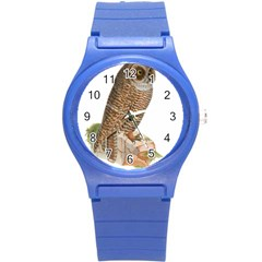 Bird Owl Animal Vintage Isolated Round Plastic Sport Watch (s)