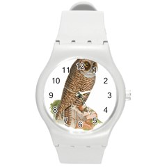 Bird Owl Animal Vintage Isolated Round Plastic Sport Watch (m) by Sapixe