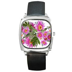 Daisies Flowers Arrangement Summer Square Metal Watch by Sapixe