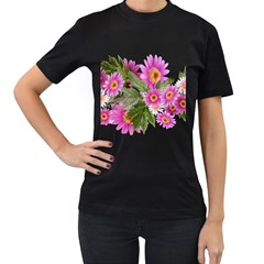Daisies Flowers Arrangement Summer Women s T Shirt (black) (two Sided) by Sapixe
