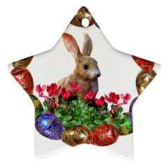 Easter Eggs Rabbit Celebration Ornament (star) by Sapixe