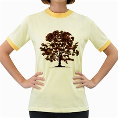Tree Vector Ornament Color Women s Fitted Ringer T-shirts by Sapixe