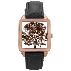 Tree Vector Ornament Color Rose Gold Leather Watch