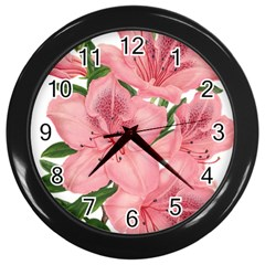 Flower Plant Blossom Bloom Vintage Wall Clocks (black) by Sapixe
