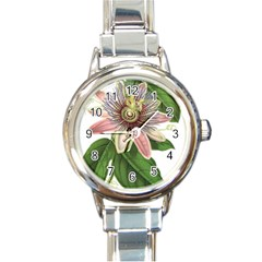 Passion Flower Flower Plant Blossom Round Italian Charm Watch by Sapixe