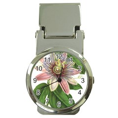 Passion Flower Flower Plant Blossom Money Clip Watches by Sapixe
