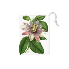 Passion Flower Flower Plant Blossom Drawstring Pouches (small)  by Sapixe