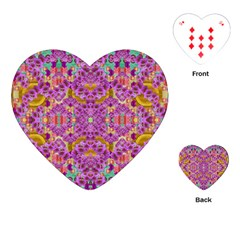 Fantasy Flower Festoon Garland Of Calm Playing Cards (heart)  by pepitasart