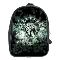 Awesome Tiger In Green And Black School Bag (xl) by FantasyWorld7