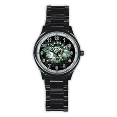 Awesome Tiger In Green And Black Stainless Steel Round Watch by FantasyWorld7