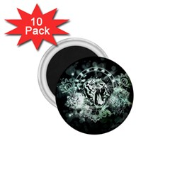 Awesome Tiger In Green And Black 1 75  Magnets (10 Pack)  by FantasyWorld7