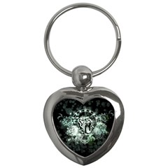 Awesome Tiger In Green And Black Key Chains (heart)  by FantasyWorld7