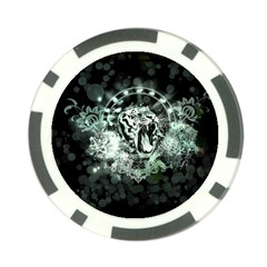 Awesome Tiger In Green And Black Poker Chip Card Guard by FantasyWorld7