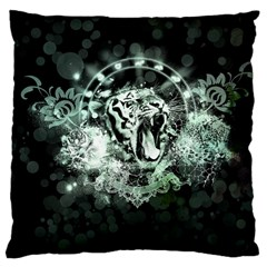 Awesome Tiger In Green And Black Large Cushion Case (two Sides) by FantasyWorld7