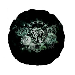 Awesome Tiger In Green And Black Standard 15  Premium Flano Round Cushions by FantasyWorld7