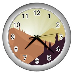 Sky Art Silhouette Panoramic Wall Clocks (silver)  by Sapixe
