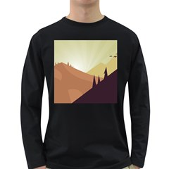 Sky Art Silhouette Panoramic Long Sleeve Dark T Shirts by Sapixe