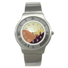 Sky Art Silhouette Panoramic Stainless Steel Watch