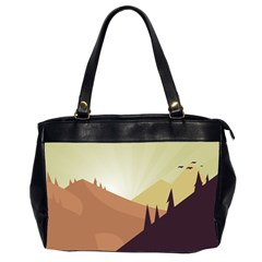 Sky Art Silhouette Panoramic Office Handbags (2 Sides)  by Sapixe