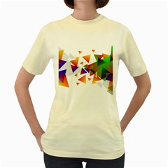 Abstract Pattern Background Design Women s Yellow T Shirt