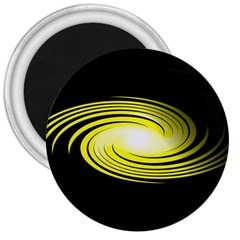 Fractal Swirl Yellow Black Whirl 3  Magnets by Sapixe